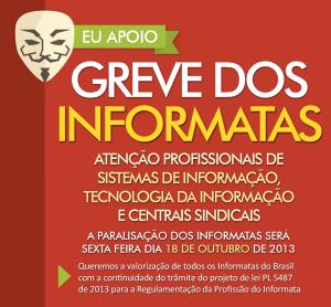 Greve dos Informatas do Brasil dia 18 de outubro